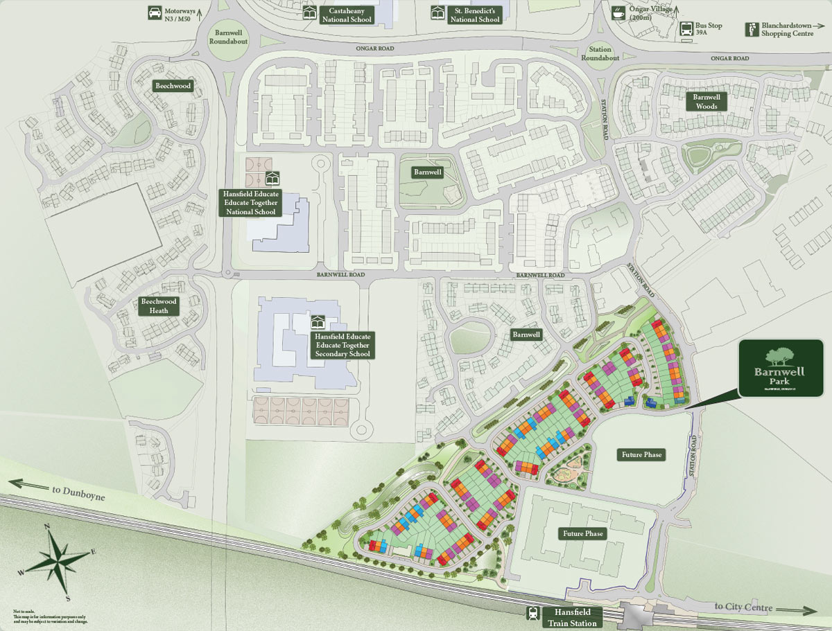 Plan view of Barnwell Park development within the local area. Showing site plan, future phases, schools, train and schools