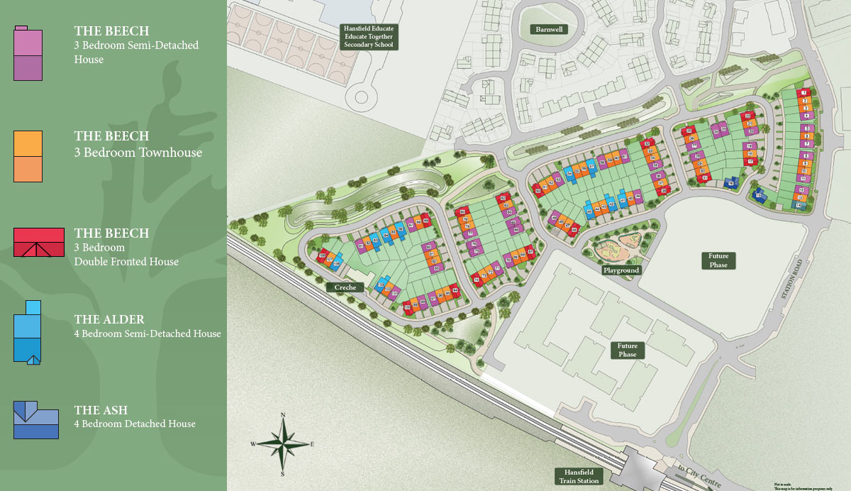 Plan view of Barnwell Park development. Showing site plan, train line and City Crnter in the distance
