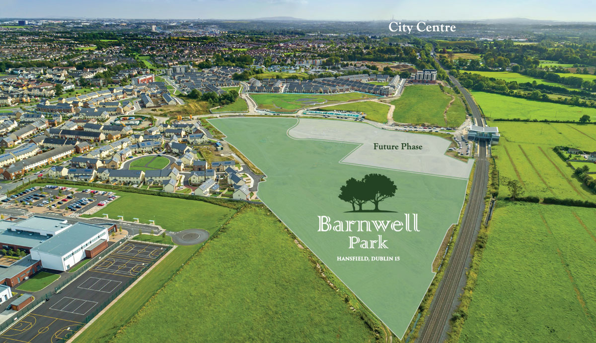 Aerial view of Barnwell Park development. Show site plan, train line and City Crnter in the distance