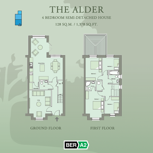 Ground and first floor plans for The Alder, a 4 Bedroom Semi-detached House at Barnwell Park