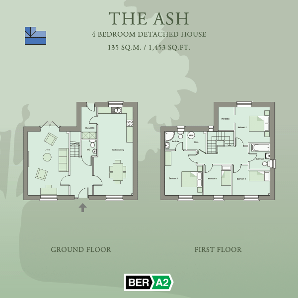 Ground and first floor plans for The Ash, a 4 Bedroom Detached House at Barnwell Park