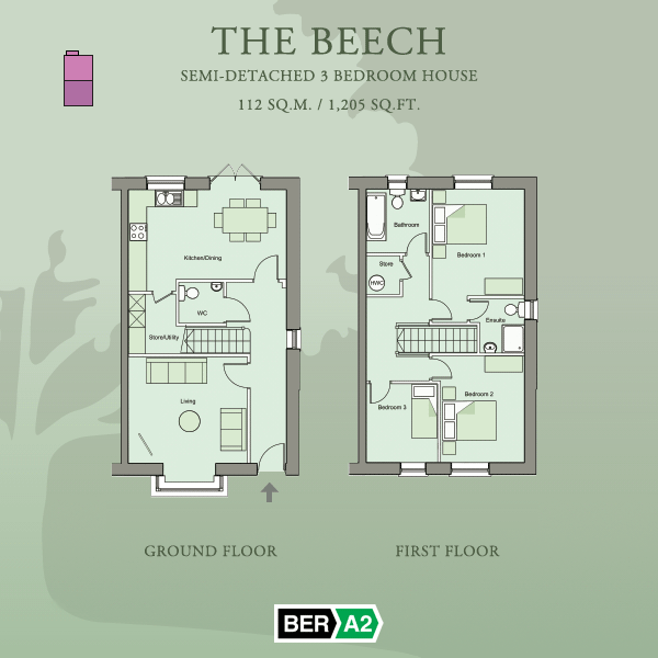 Ground and first floor plans for The Beech, a 3 Bedroom Semi-detached House at Barnwell Park