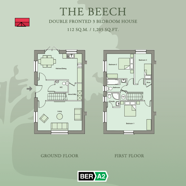 Ground and first floor plans for The Beech, a 3 Bed Room Double-fronted House at Barnwell Park