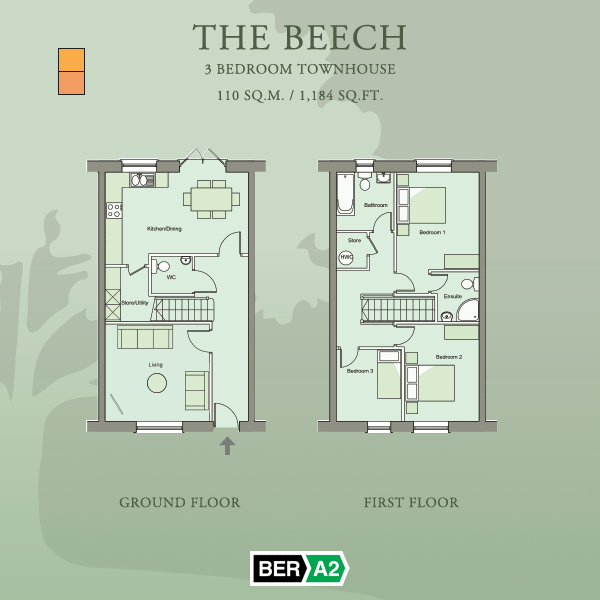 Ground and first floor plans for The Beech, a 3 Bedroom Townhouse at Barnwell Park