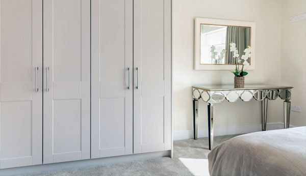 High quality shaker style wardrobes by McCauls Wardrobes as per showhouse.