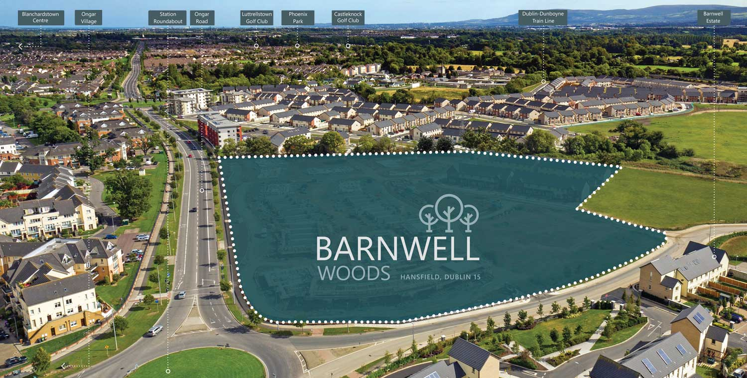 Arial photograph of Barnwell Woods housing development illusrated with nearby local amenities