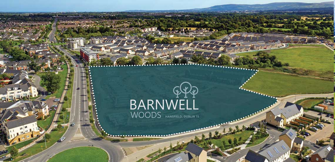 Arial photograph of Barnwell Woods housing development