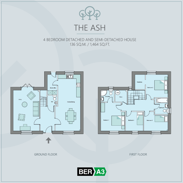 The Ash house type at Beechwood, ground and 1st floor plans