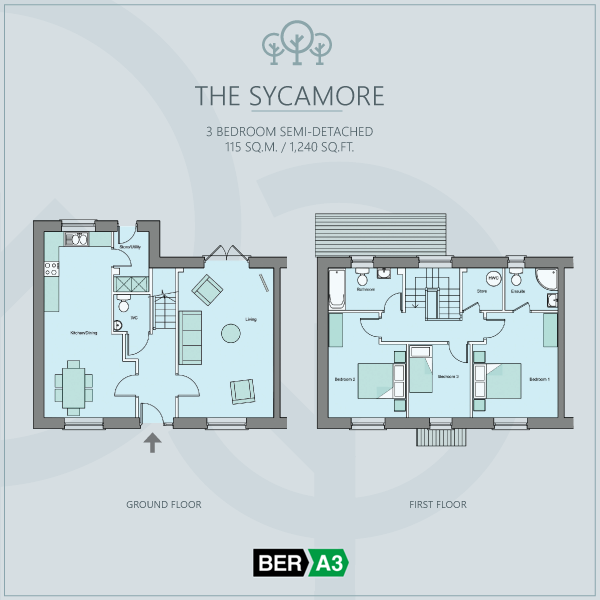 The Sycamore house type at Beechwood, ground and 1st floor plans