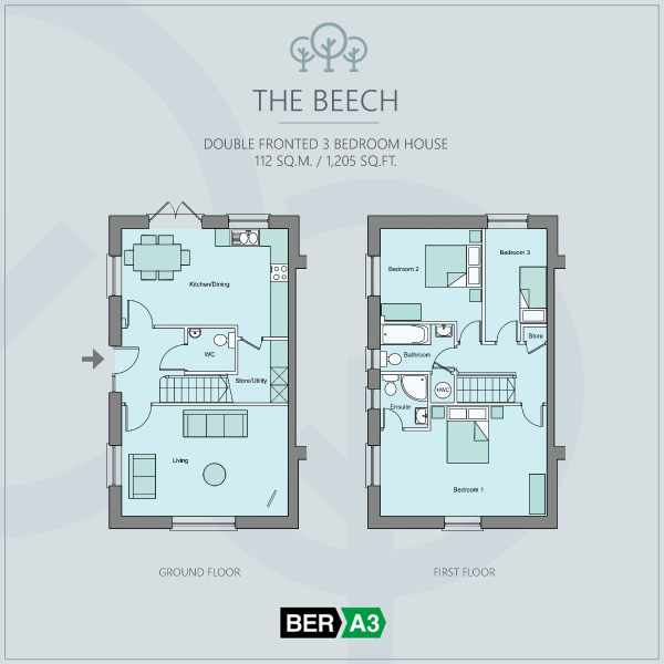 The Beech double fronted house type at Beechwood, ground and 1st floor plans