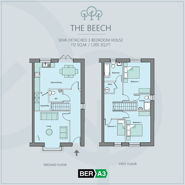 The Beech semi-detached house type at Beechwood, ground and 1st floor plans